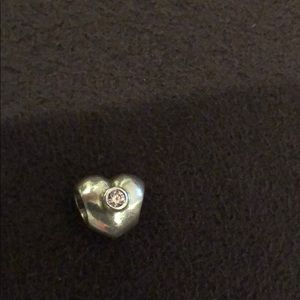 Heart Pandora Charm with light Pink gem